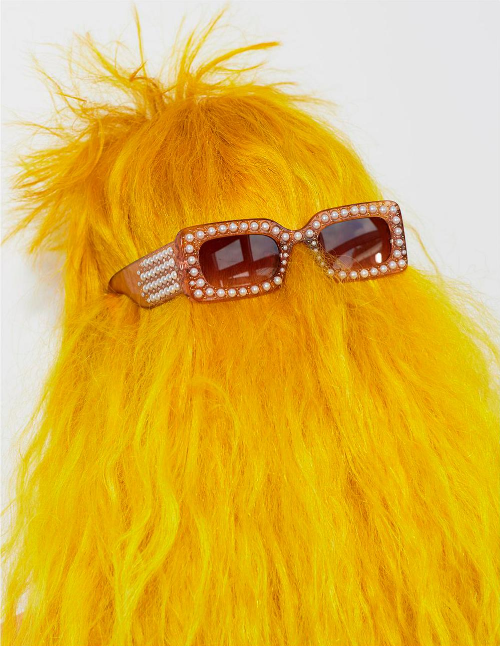 bright lemon yellow hair with brown pearl sunglasses by Bleach London