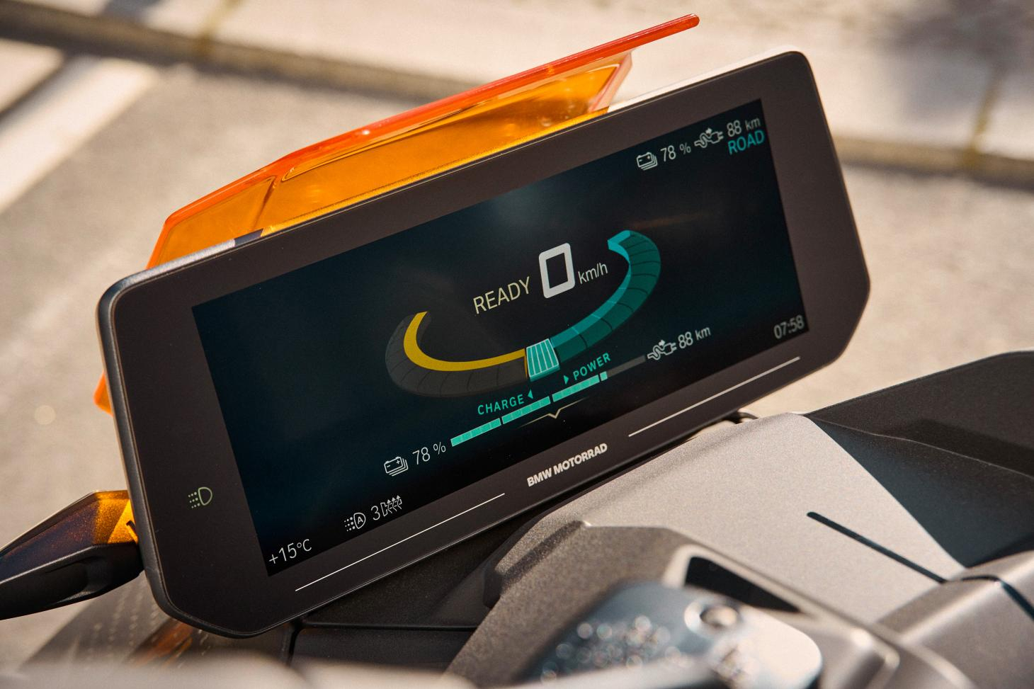 The new BMW Motorrad CE 04 Electric Scooter's display screen