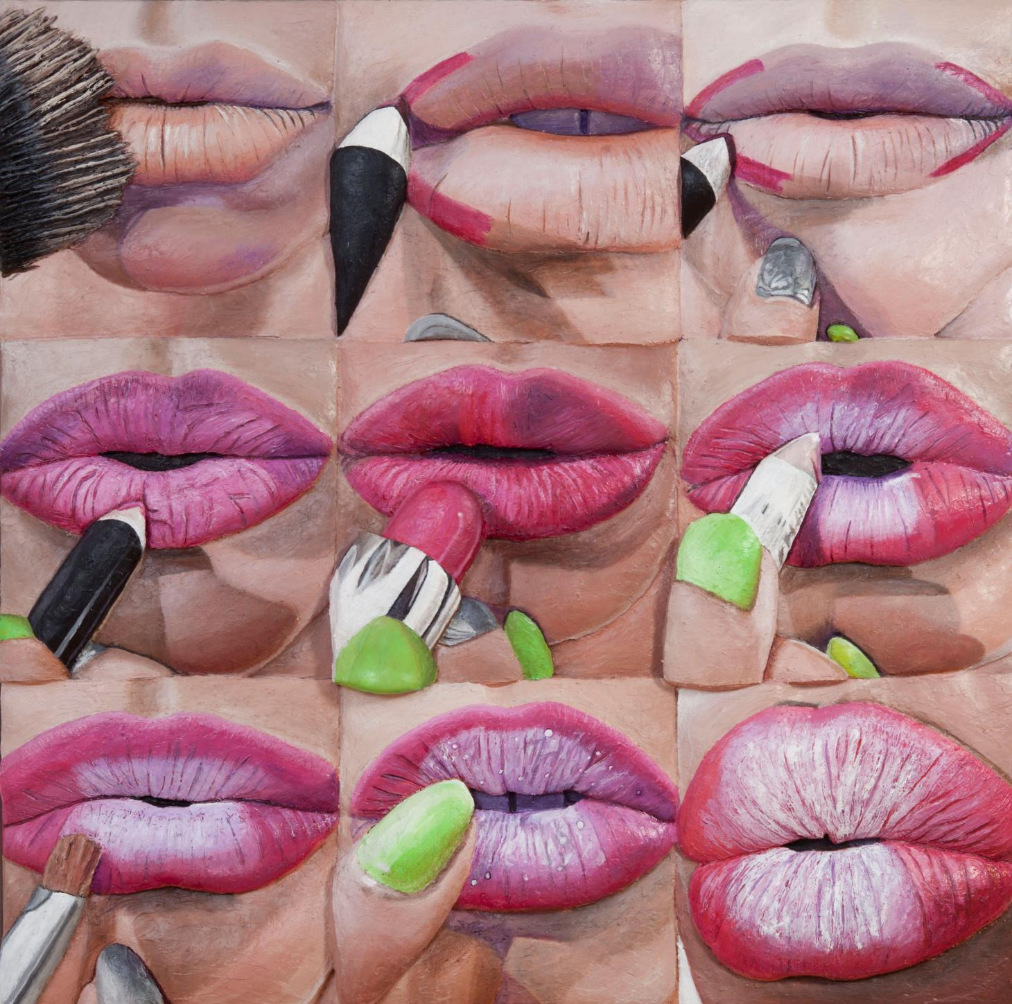 paintings of lips being applied with make-up