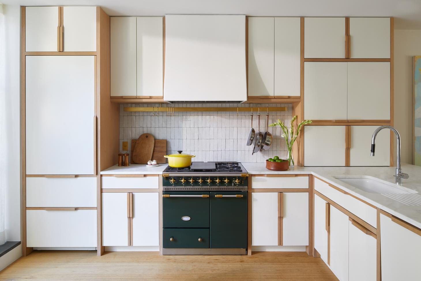 wooden bespoke cabinetry in kitchen at Boerum Hill Townhouse
