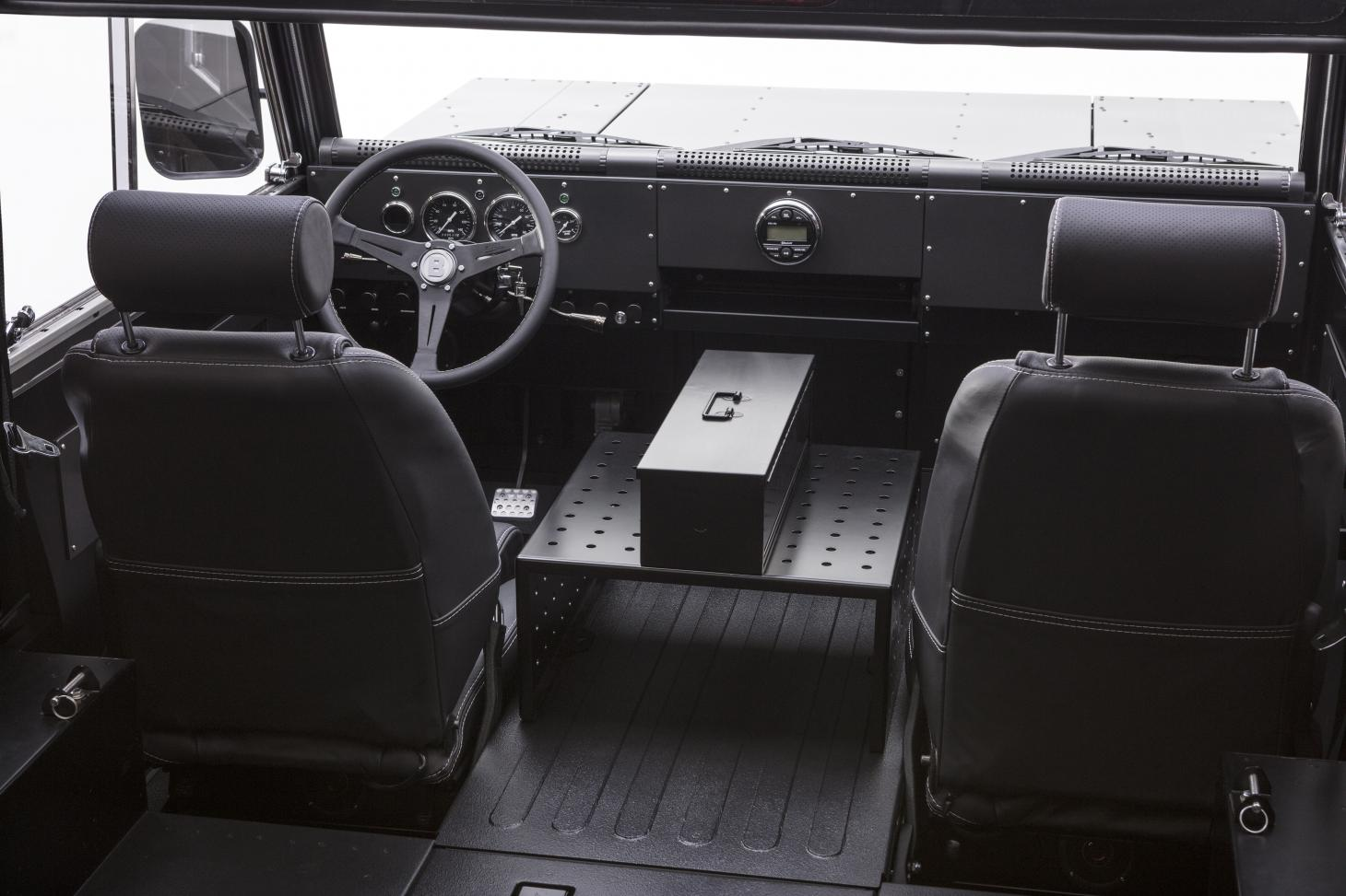 Interior view of Bollinger B1 utility car