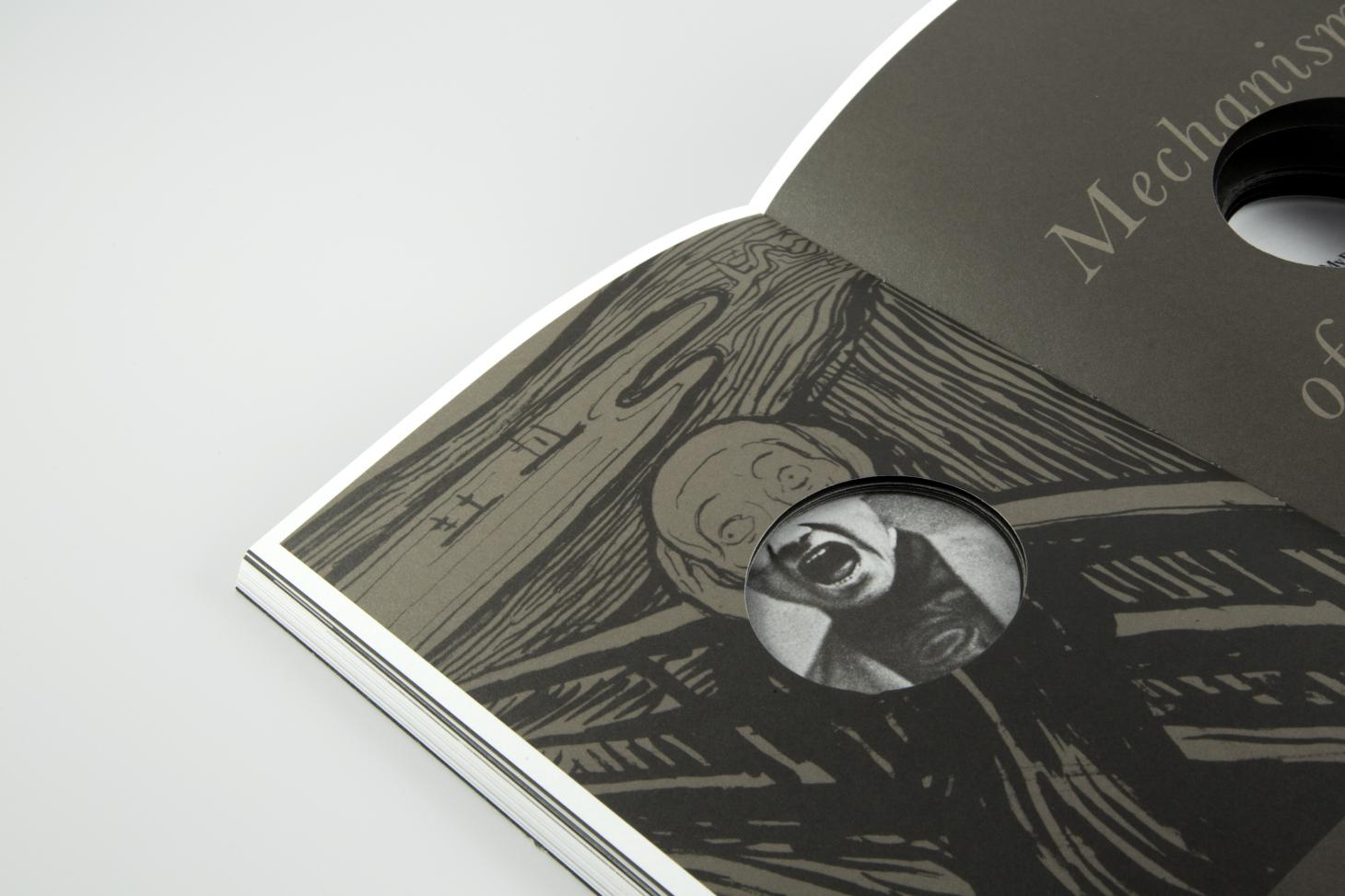 Spread from Fragile Self, detail view of innovative book design