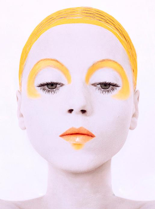 Image from Dior's Art of Color showing model in yellow and white makeup