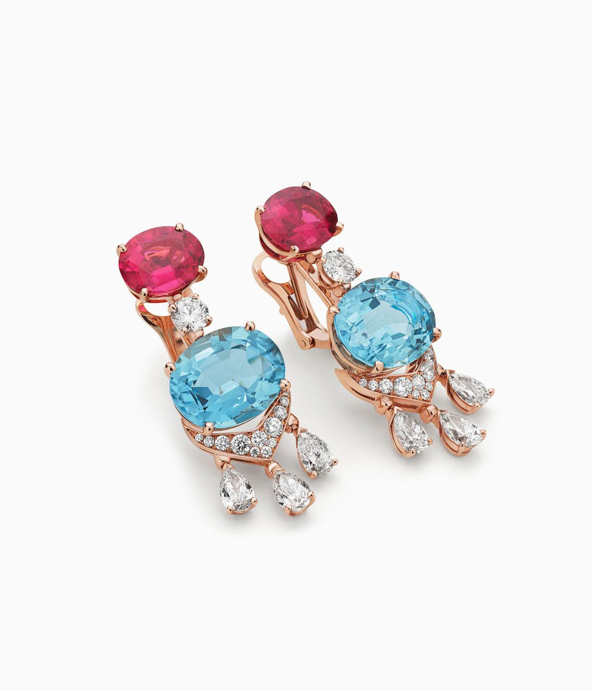 Bulgari earrings with blue and red precious stones