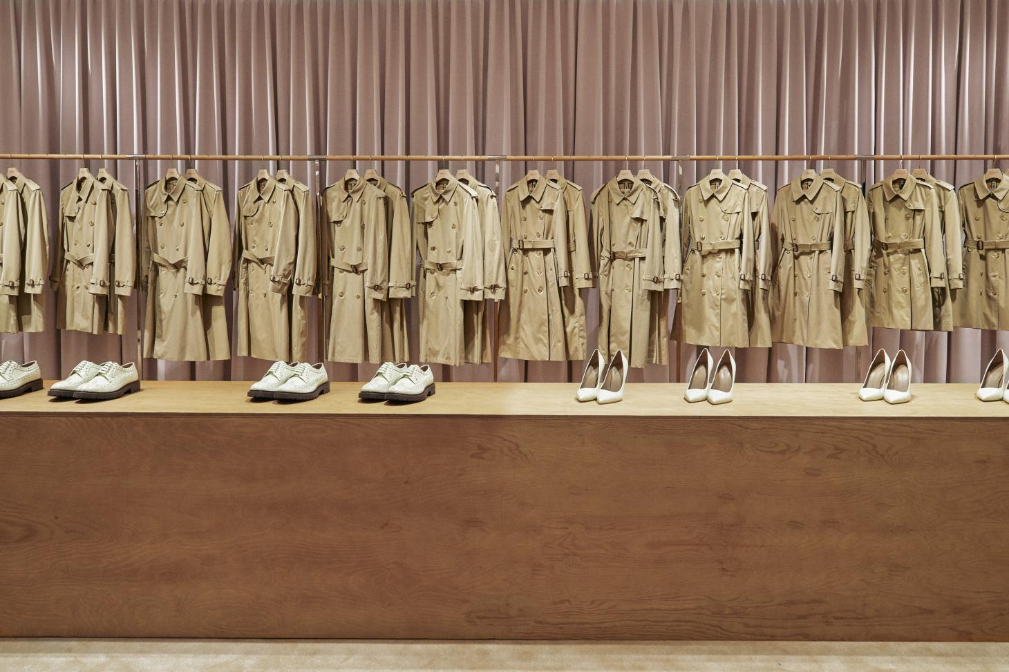 Burberry trenchcoats in flagship store