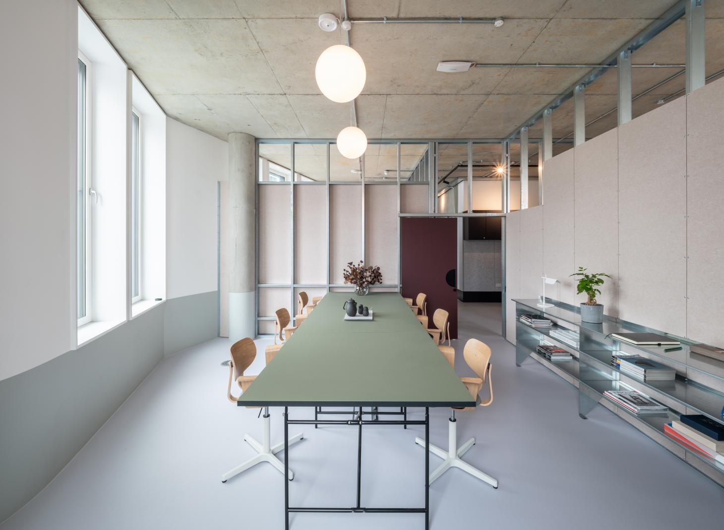 elegant interior with pale colours at the Bureau coworking space which opens at the Design District