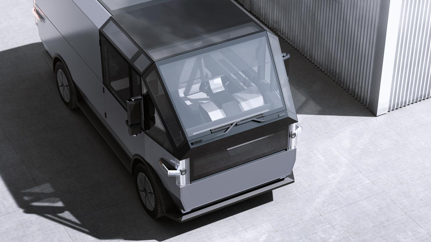 Canoo's new MPDV (Multi-Purpose Delivery Vehicle) as seen from above