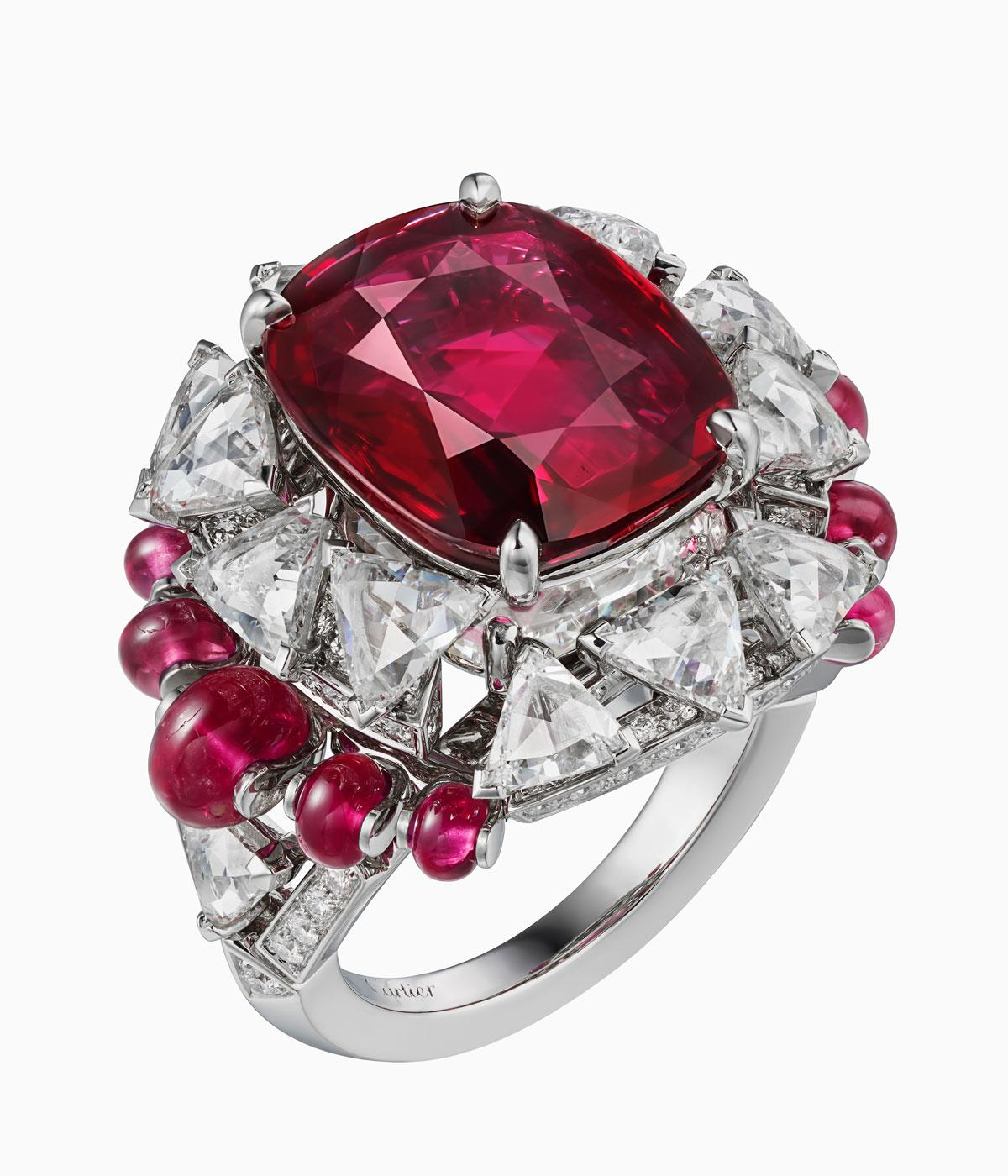 Cartier high jewellery ruby and diamond ring