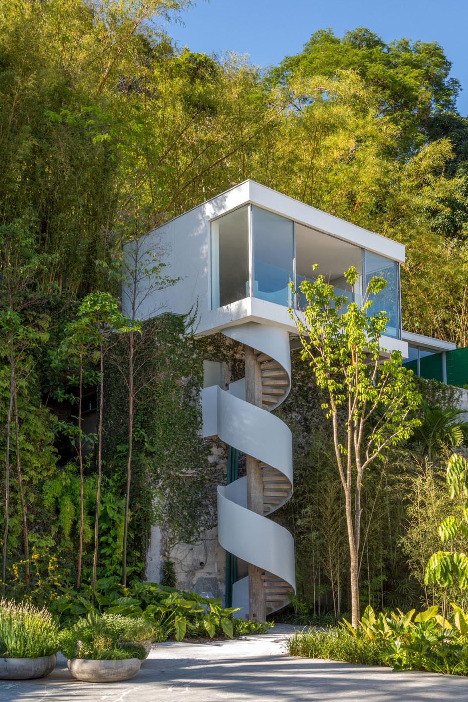 The staircase outside Adriana Varejão and Pedro Buarque's house in Rio de Janeiro, designed by Oscar Niemeyer in 1969