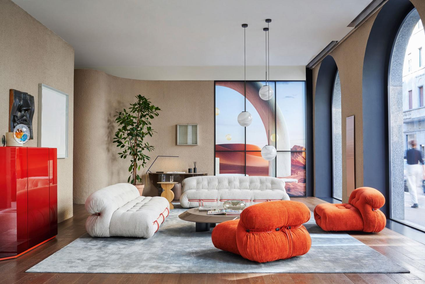 The interiors of Cassina's Milan showroom with furniture by Tobia Scarpa Salone del Mobile 2021 - Discover Milan Design Week 2021