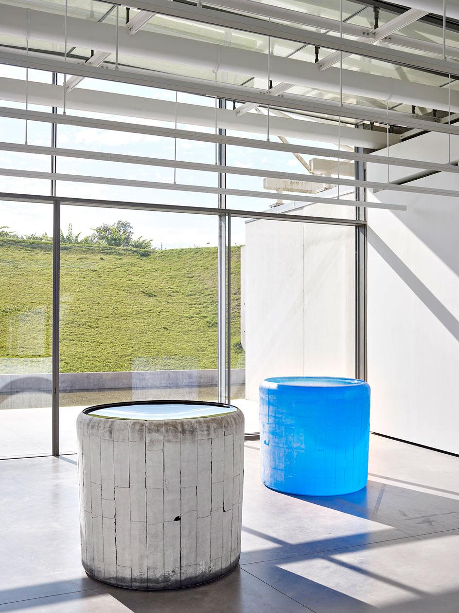 Installation view at Château La Coste,Roni Horn, Water Double, v. 4, 2016 - 2019 Solid cast glass with as-cast surfaces, with oculus, two units.