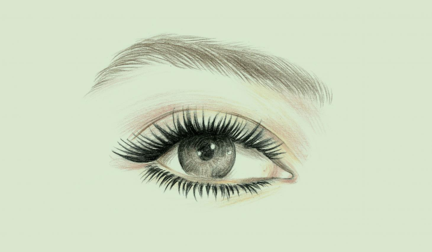 illustrated eye on a green background