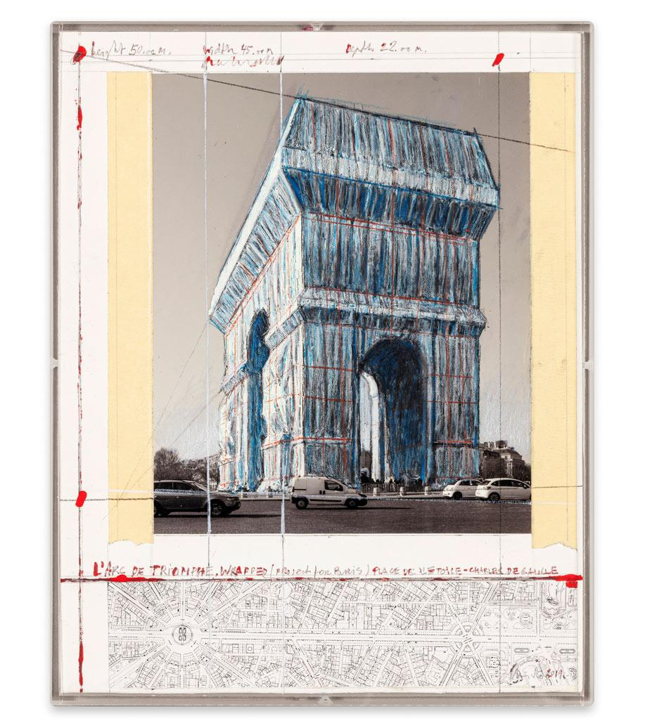 Drawing for L'Arc de Triomphe, Wrapped by Christo and Jeanne-Claude