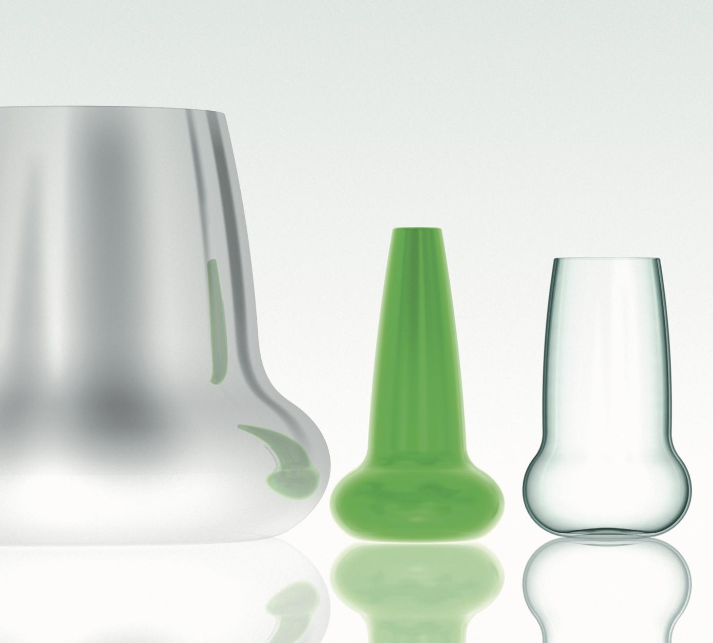Green Glassware by Venini and aluminium cooler designed by Marc Newson for Coast Restaurant in London