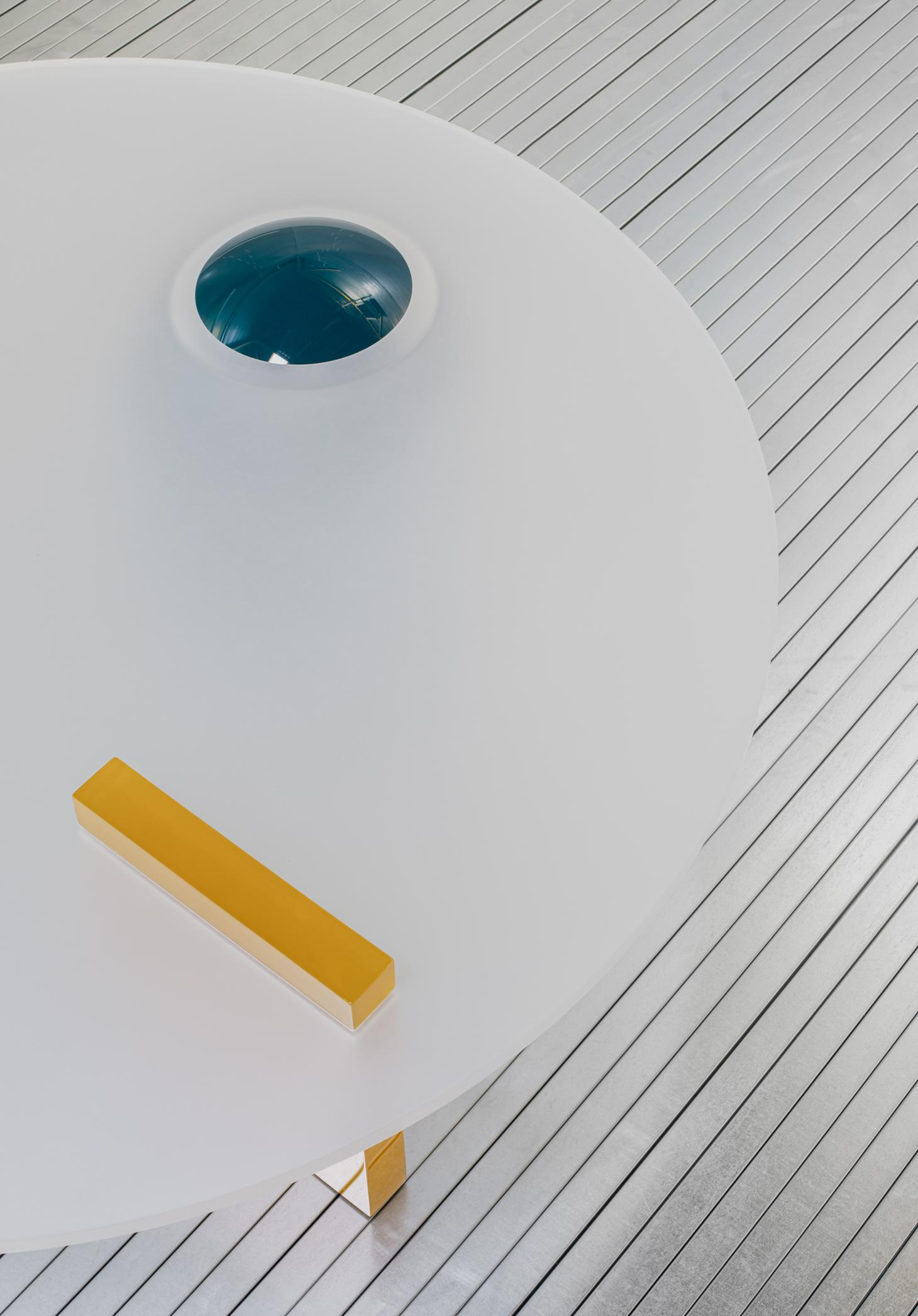 White surface table tops with colourful elements