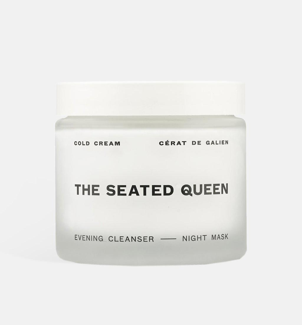 The Seated Queen cold cream in white container with black text