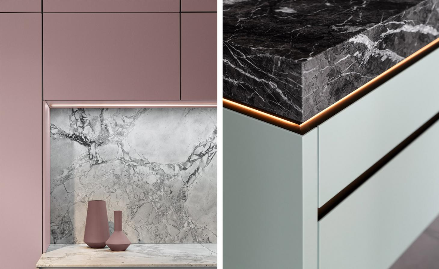 left is pink and marble, right is light green and brass