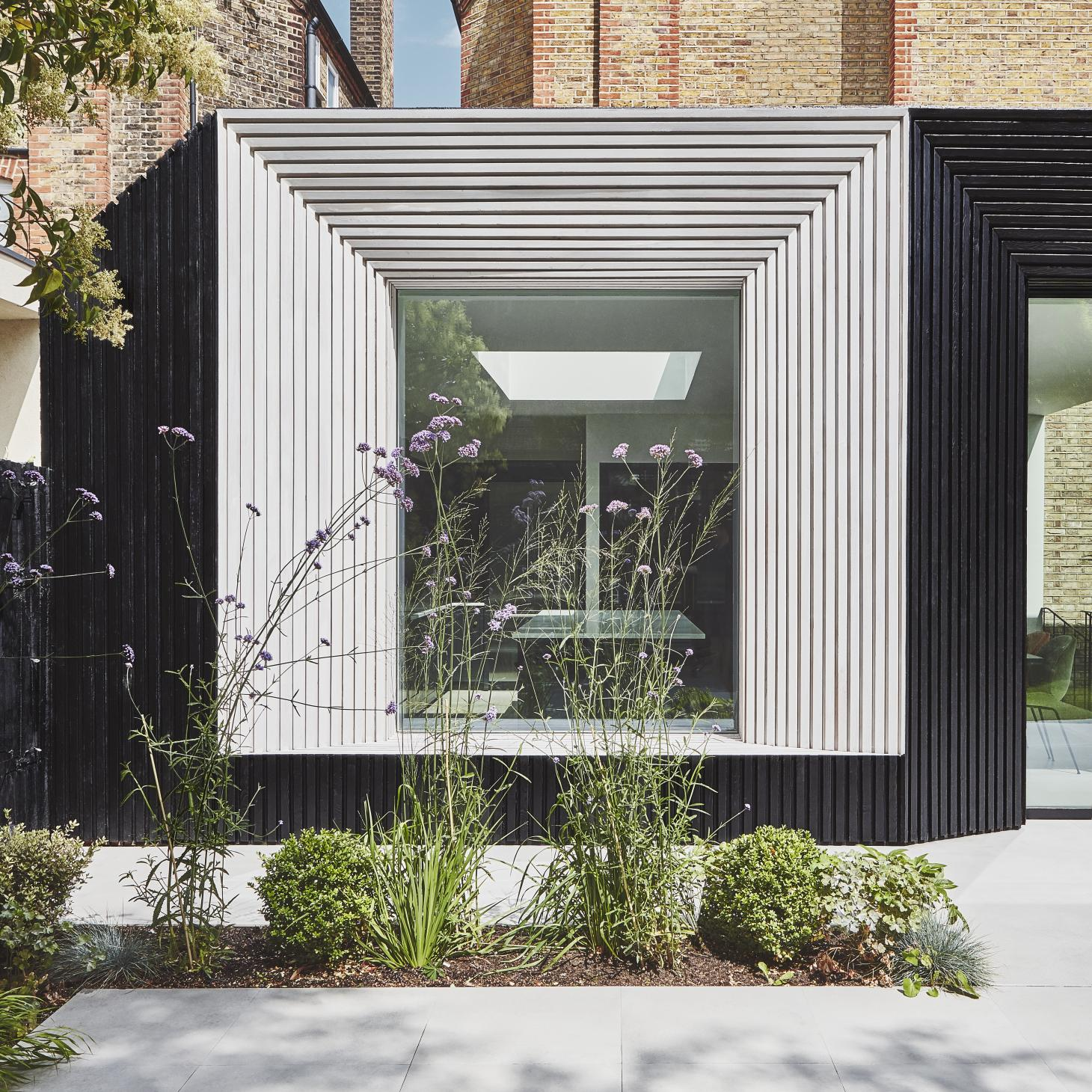 wood clad exterior detail at Nightingale Triangle house in London