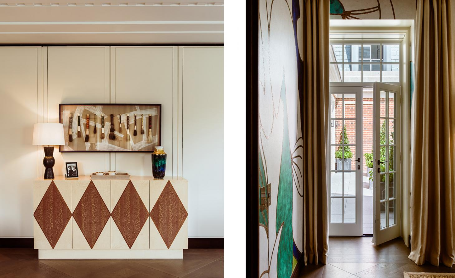 No.1 Grosvenor Square living space details and terrace looking out