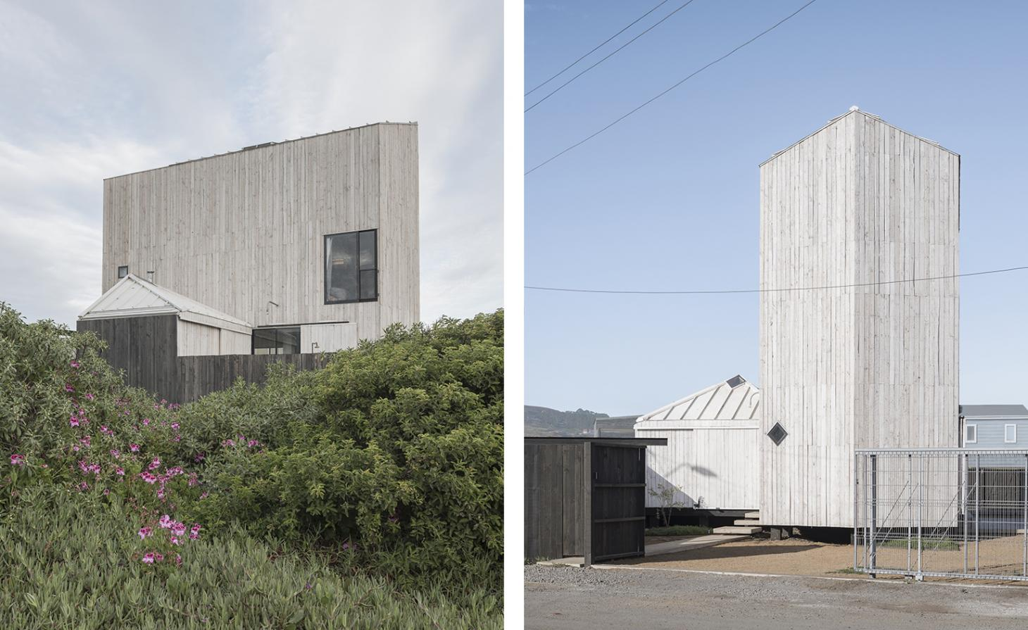 Two images of El Gauchal architect-designed beach huts in Chile