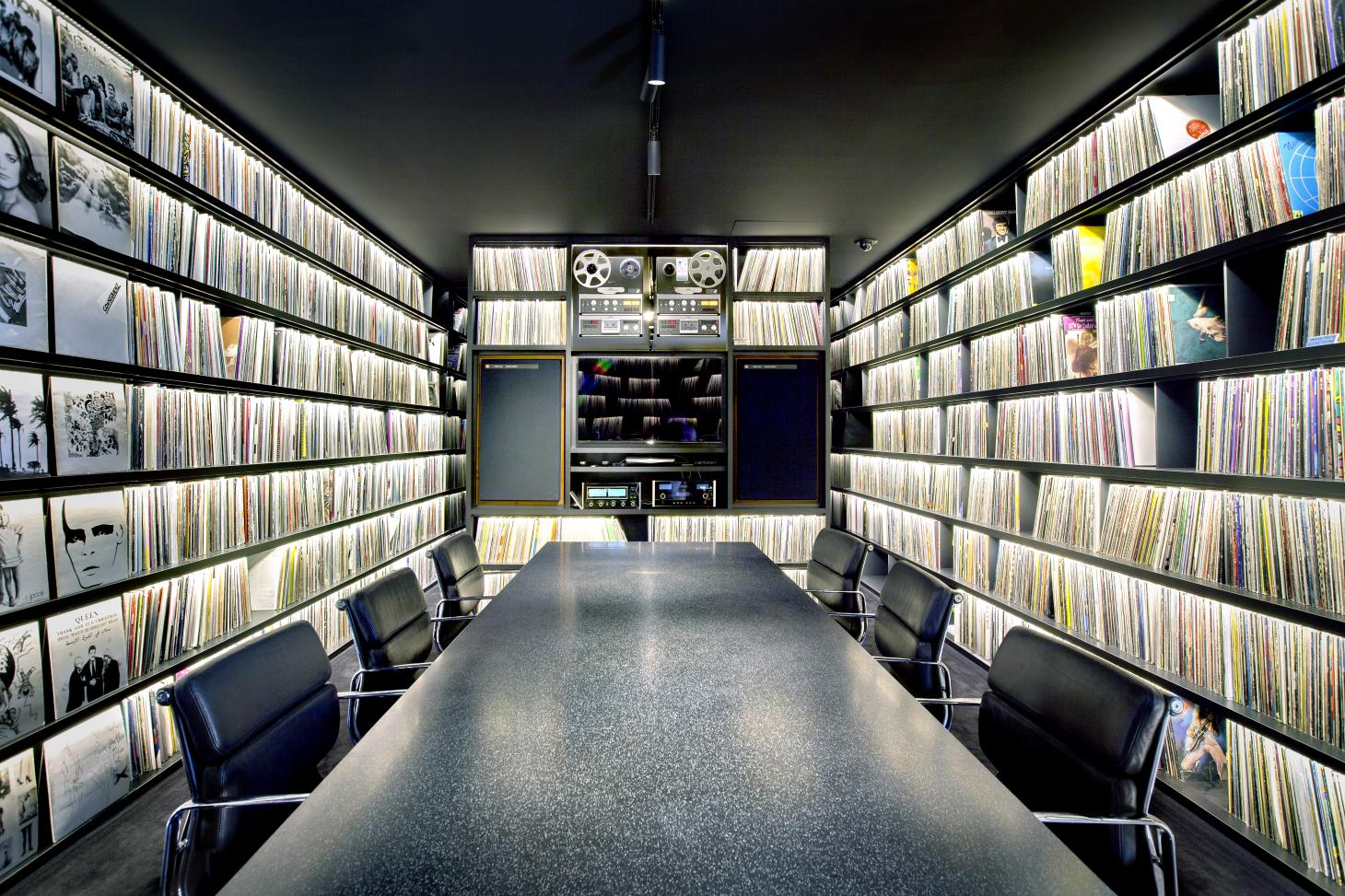 64,000 vinyl record collection at 2manydjs recording studio home