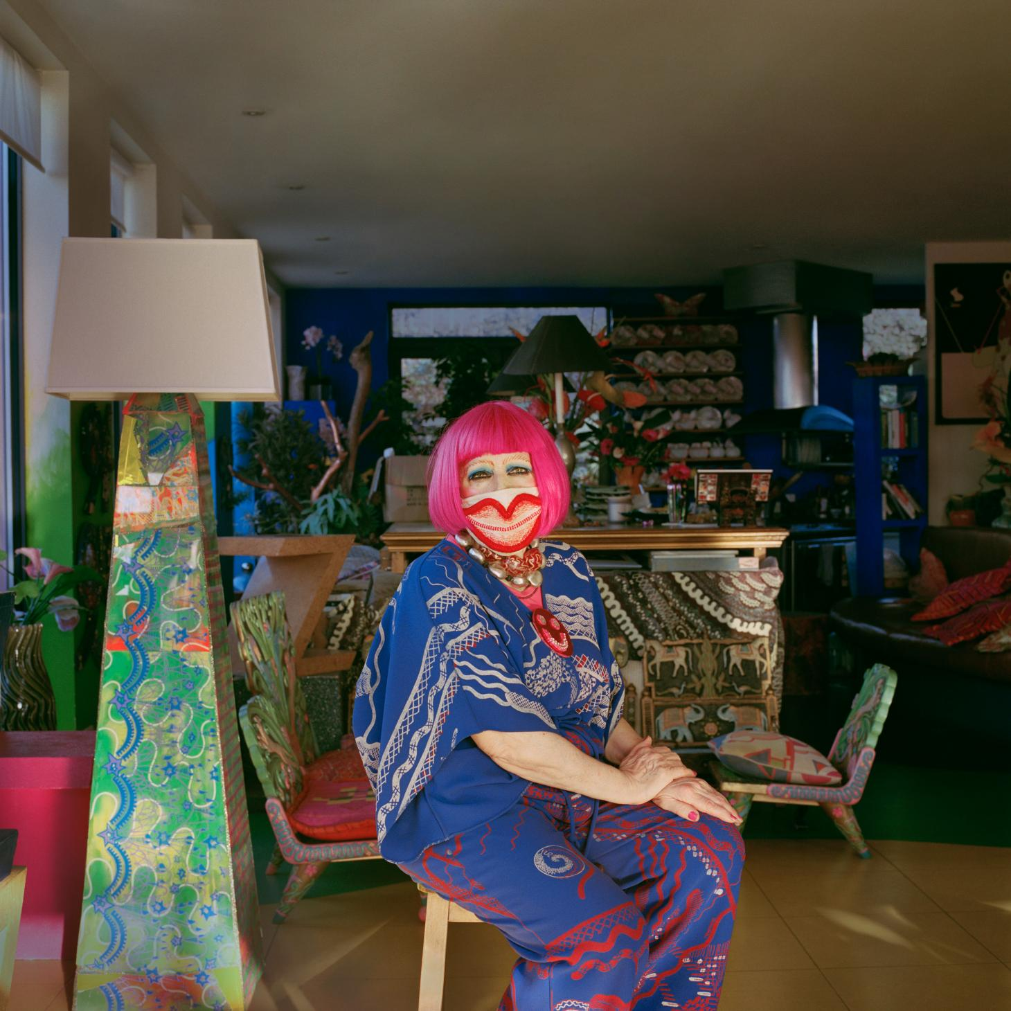Portait image of Dame Zandra Rhodes wearing a mask shot for Joanna Vestey's Masked portrait series