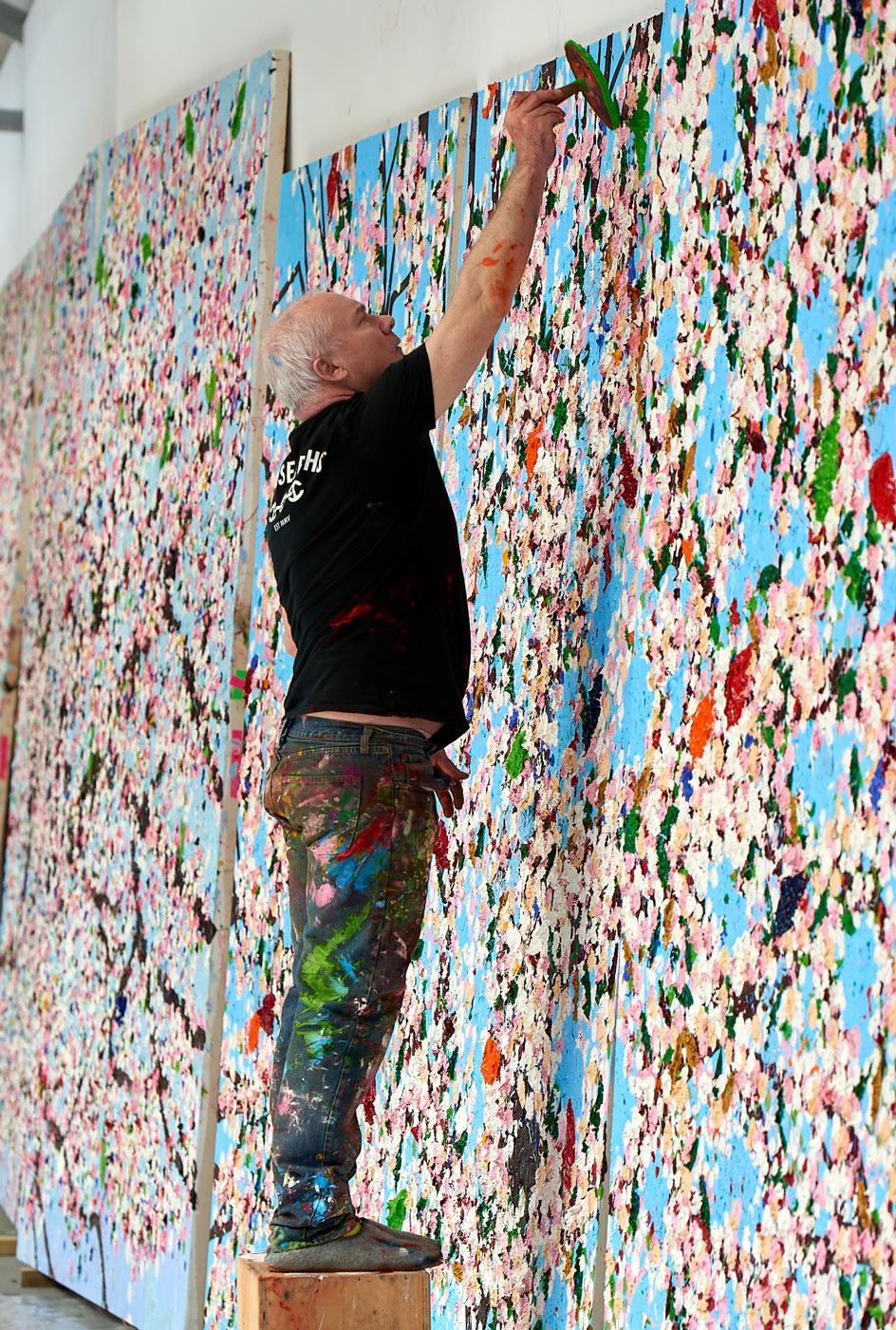 Damien Hirst cherry blossoms in his studio, 2019© Damien Hirst and Science Ltd.All rights reserved, DACS 2021