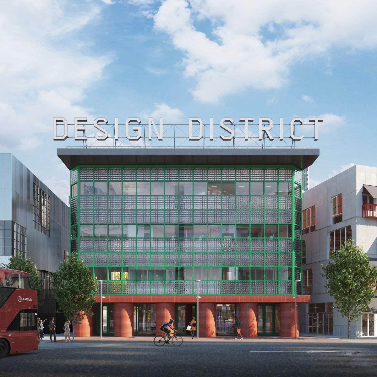 the David Kohn designed building at London's new design district at the Greenwich peninsula