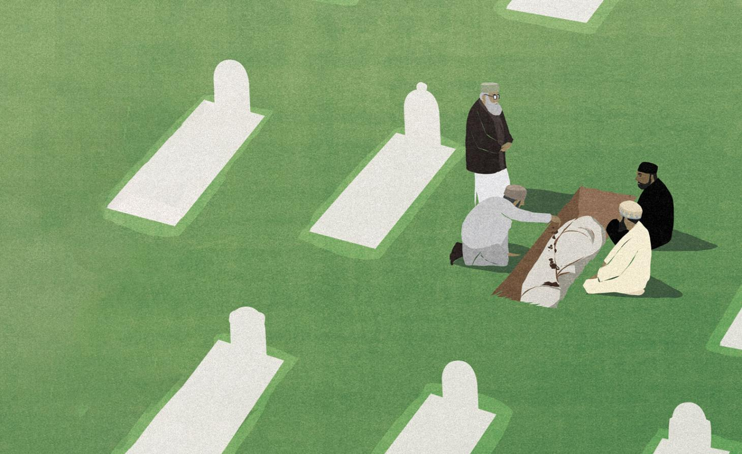 An illustration depicting a Muslim funeral from the book How to Die Well
