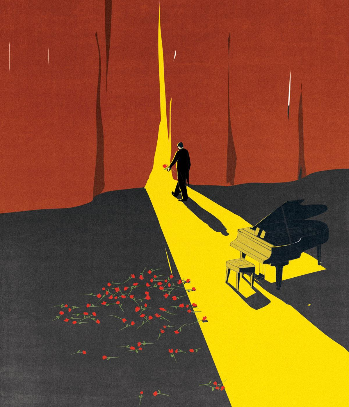 An illustration depicting a pianist going out for the final curtain call