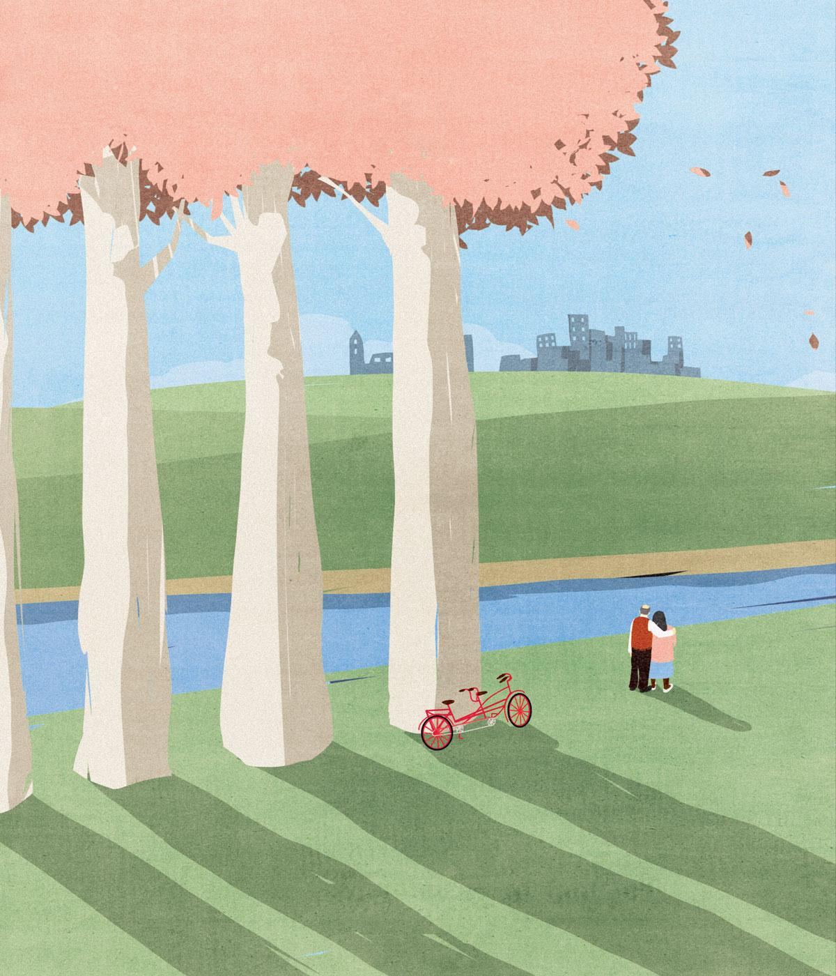 An illustration depicting a couple hugging by a bike