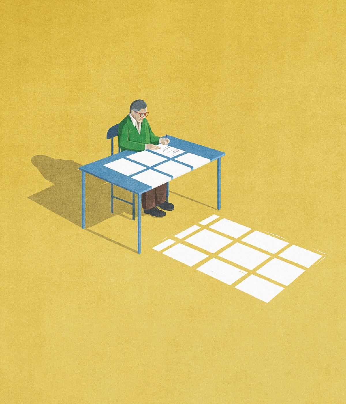 An illustration depicting a man at his desk writing a will