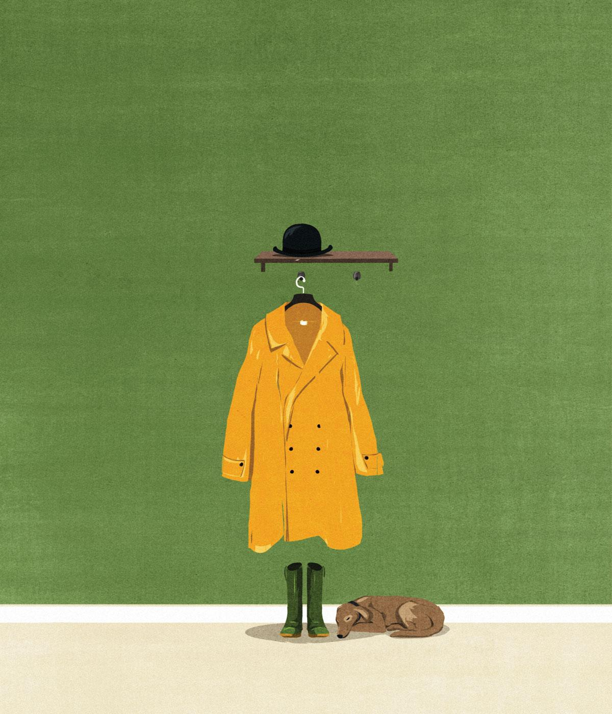 An illustration depicting a dog waiting by an unworn coat from the book How to Die Well