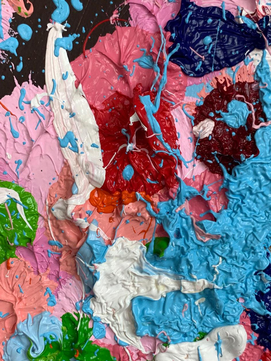 Detail of Cherry Blossoms painting by Damien Hirst in the artist's studio