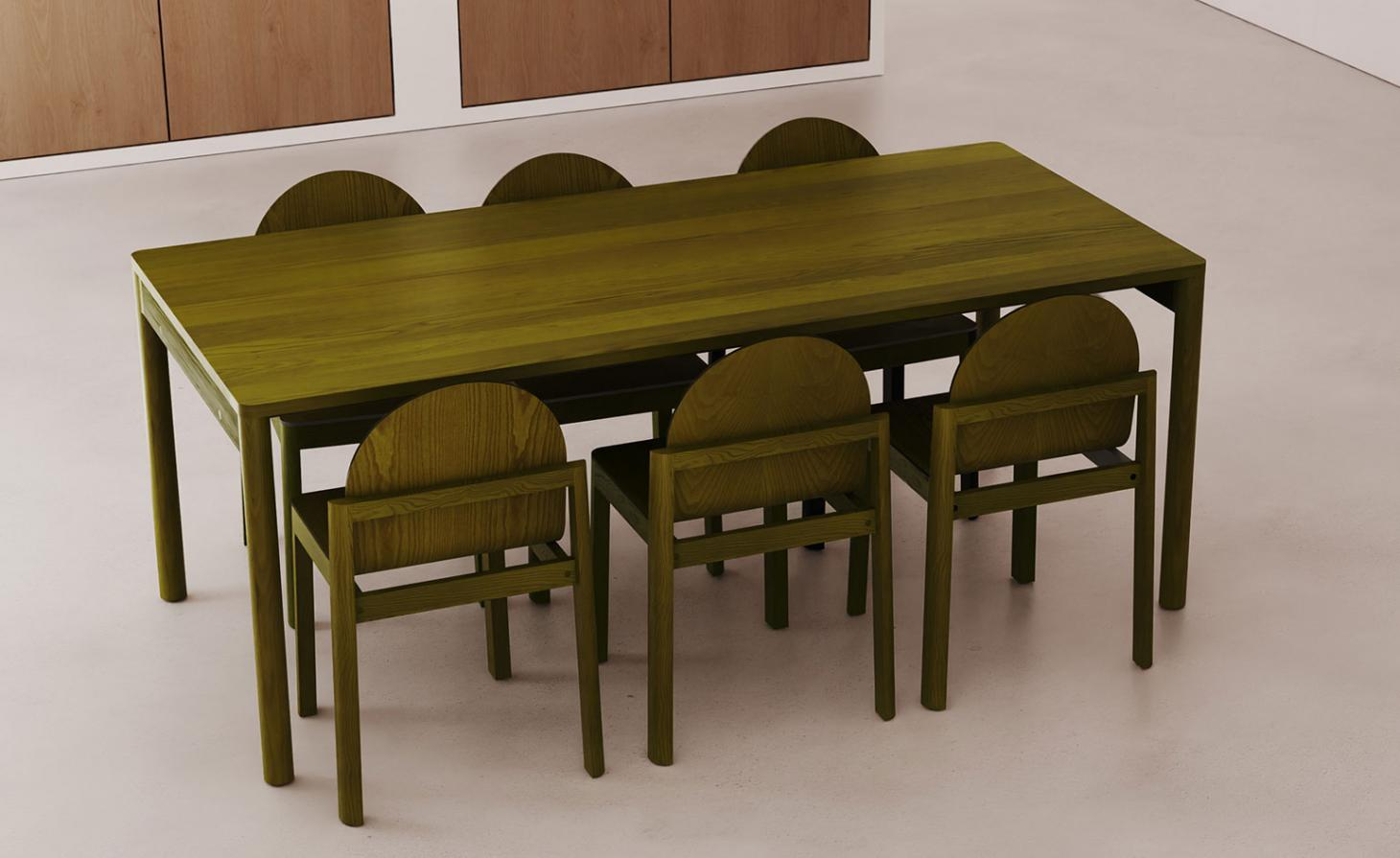 Olive green wooden table with six chairs by Dims