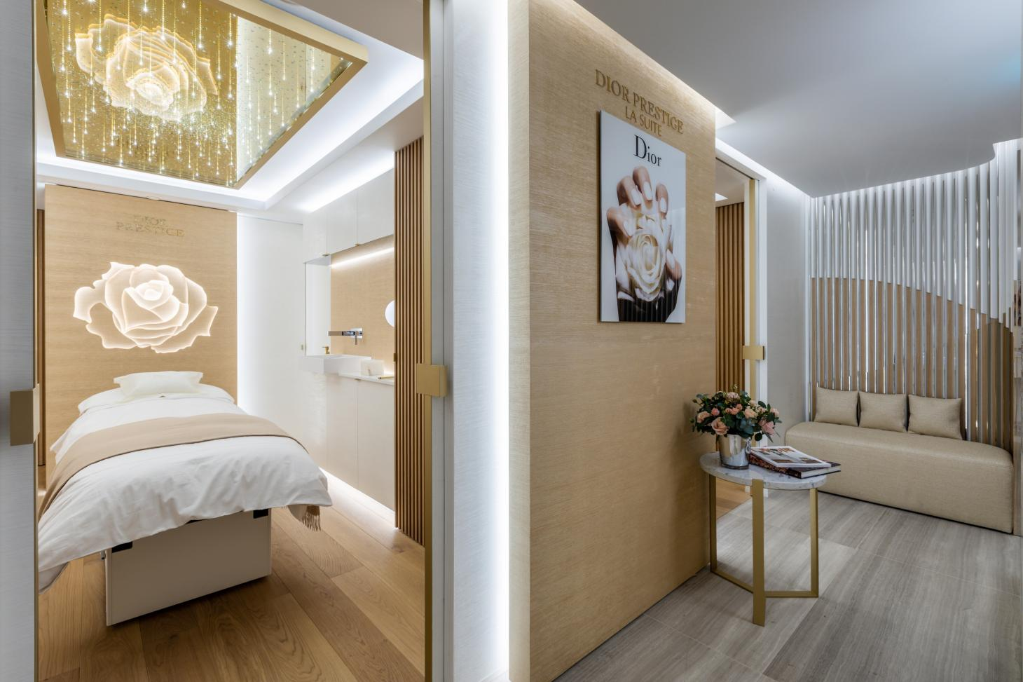 Dior Prestige La Suite at Harrods, London with treatment bed and Dior skincare products