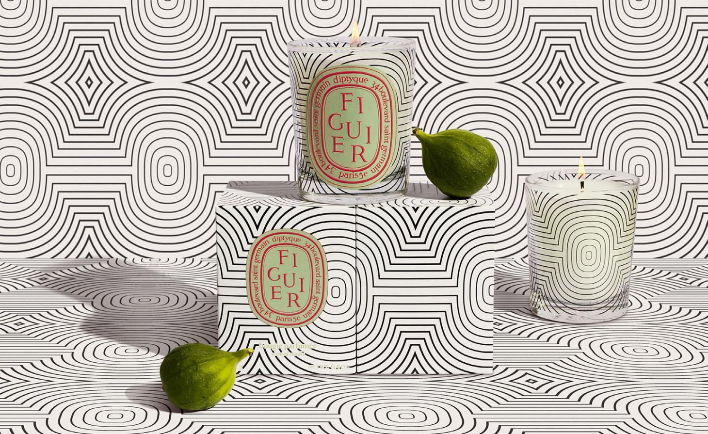 diptyque 60th anniversary figuire candle with balck and white graphic designs