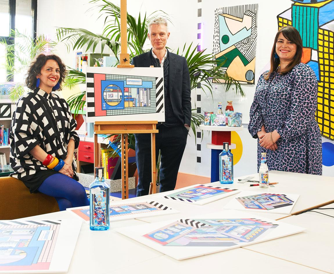 Camille Walala, artist and designer; Tim Marlow, chief executive of the Design Museum; Natasha Curtin, global vice president of Bombay Sapphire