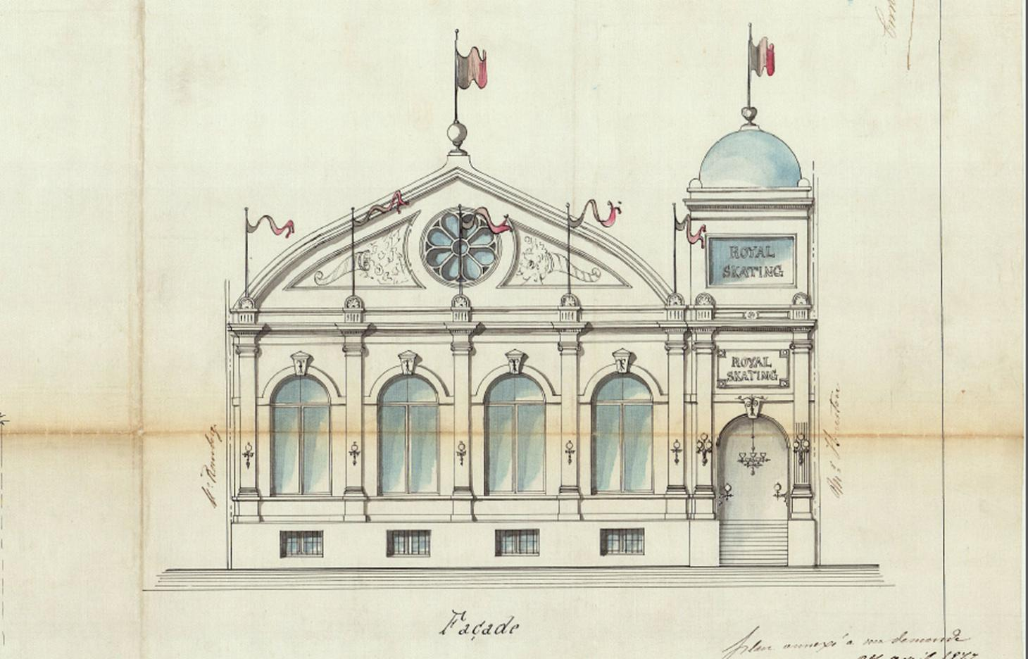 Archival architectural illustration of the facade of the Royal Skating rink in Brussels, dated 1877. The roller skating rink is now an art gallery