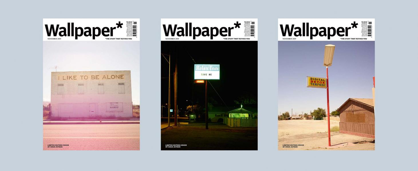 American artist Doug Aitken created 3 Wallpaper* magazine cover designs based on signs in the American West for the November 2020 issue