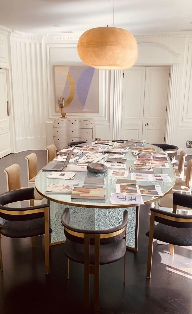 Kelly Wearstler repurposes her dining room table as her temporary office at home in Beverly Hills