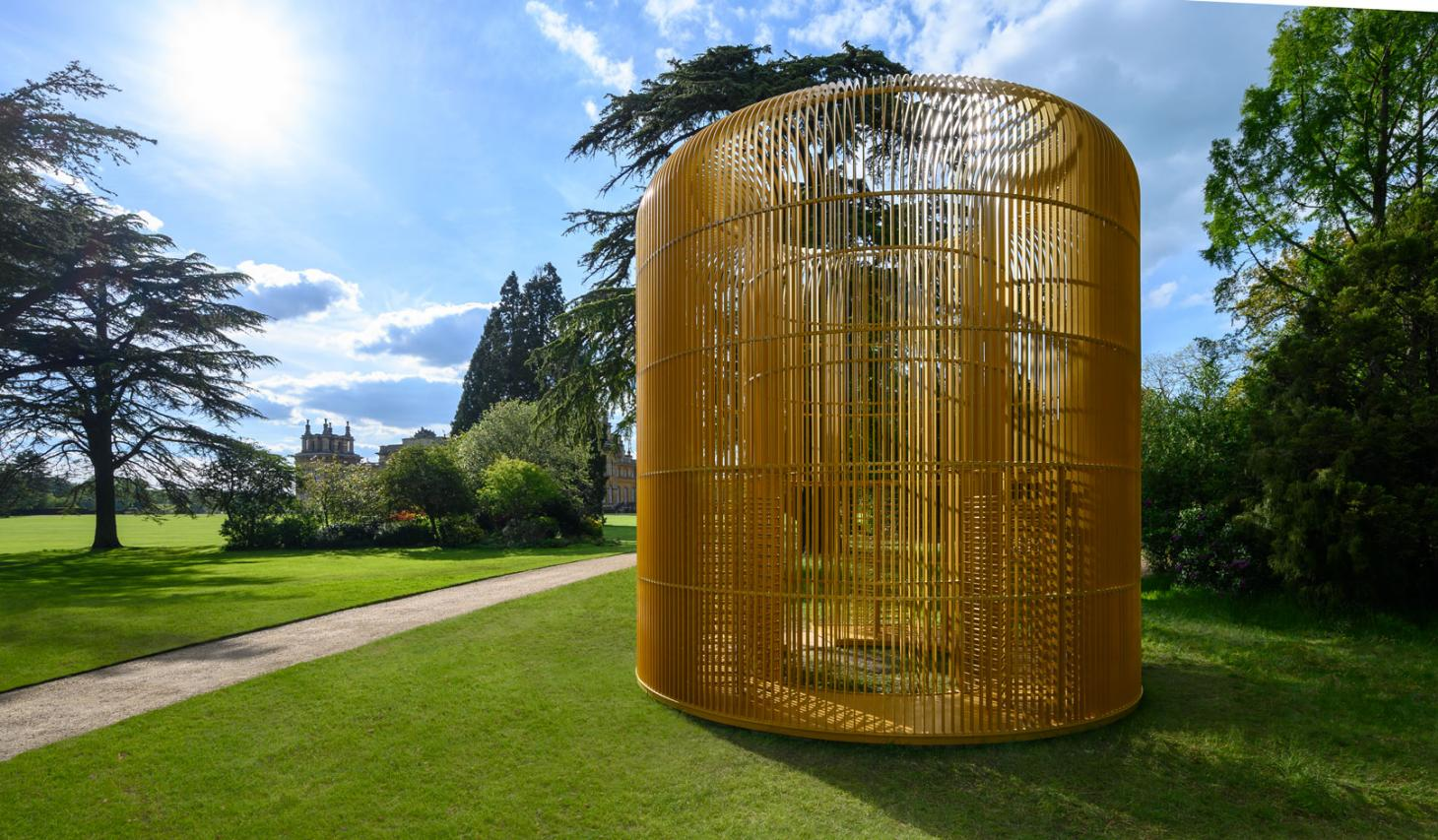 Ai Weiwei,Gilded Cage (2017), a gold metal sculpture which explores the refugee crisis.Photography: Pete Seaward, courtesy of Blenheim Art Foundation
