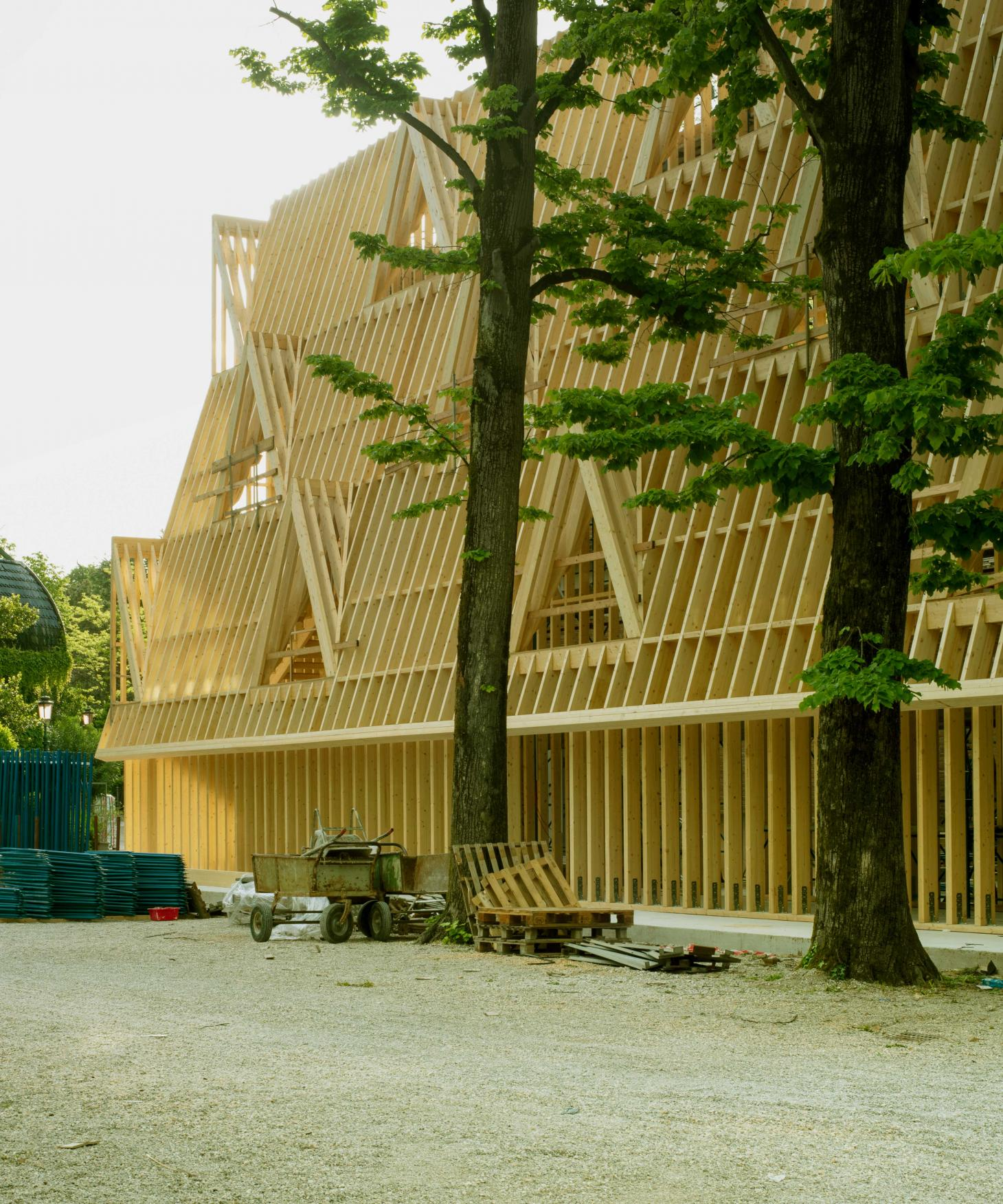 timber frames at the 2021 Venice architecture biennale US pavilion