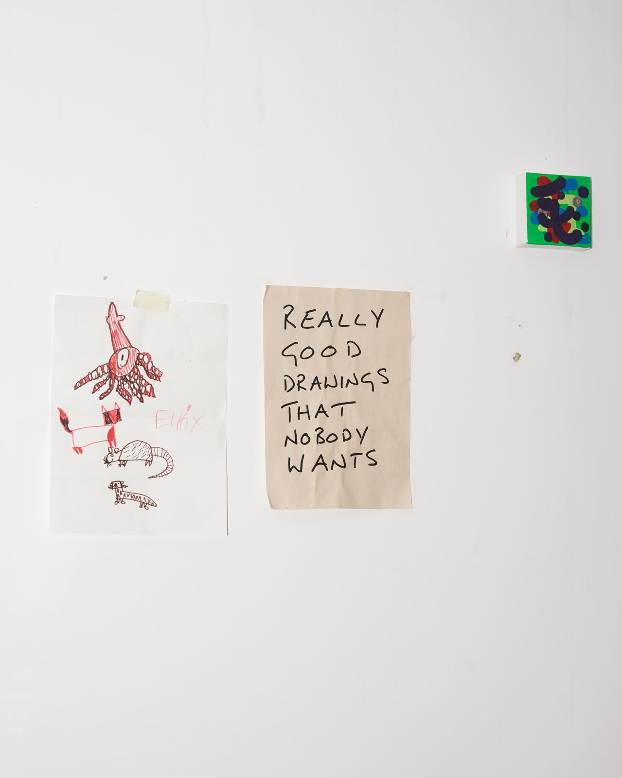 Works on the wall of David Shrigley's Brighton studio