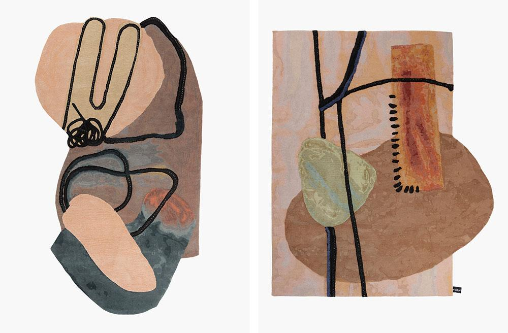 Reclining Figure and Mantle Piece rugs by Faye Toogood and cc-tapis
