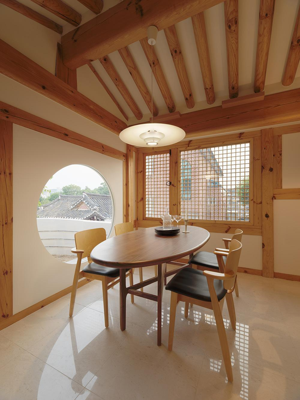 Traditional South Korean architecture meets innovation in a renovated hanok house