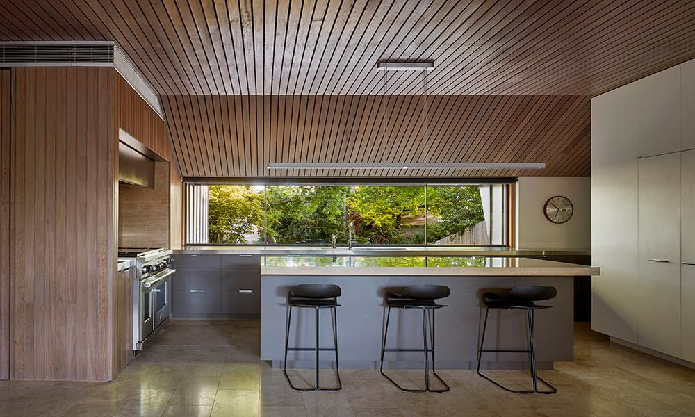 Open plan kitchen at Lake Wendouree house, by Inarc Architects, Ballarat, Australia