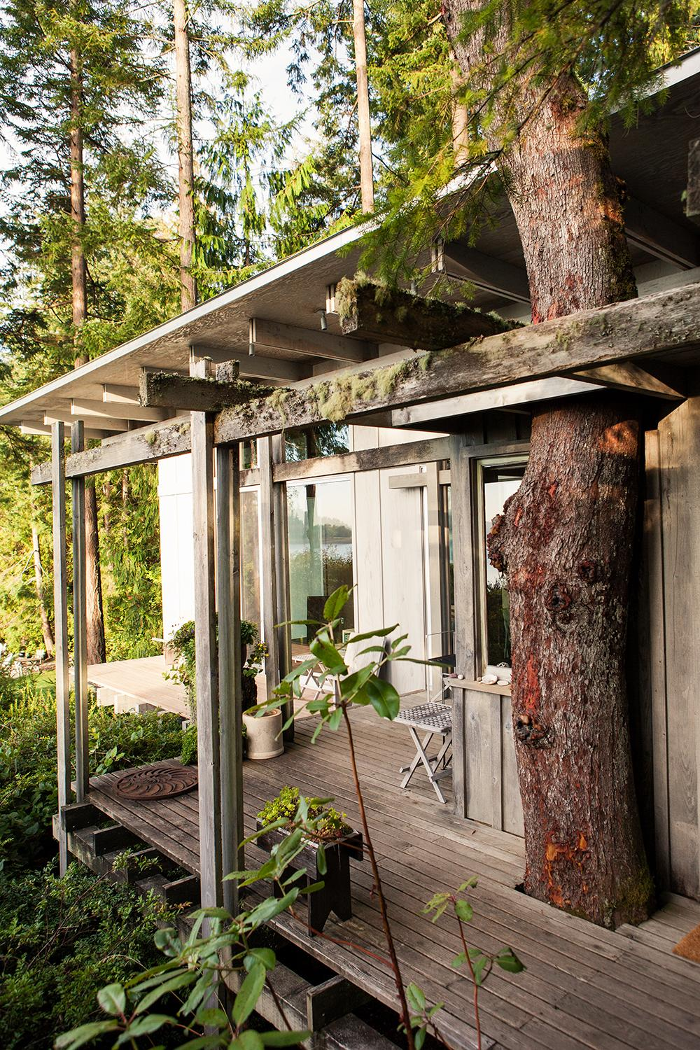 An exterior deck at Jim Olson's holiday home in Washington state