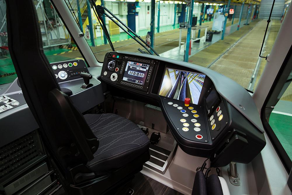 The new tram's driver space