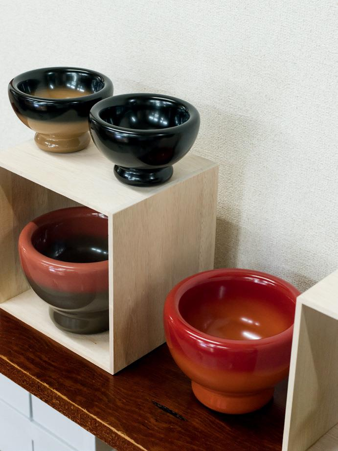 'Urushi Pillow' bowls by Max Lamb